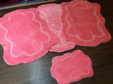 ROMANY WASHABLES THICK CARVED DESIGN SET OF 4 MATS XLARGE SIZE 100X140CM PINK